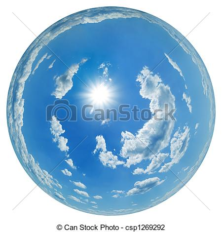Clip Art of Sky globe with scattered cumulus clouds and sun.
