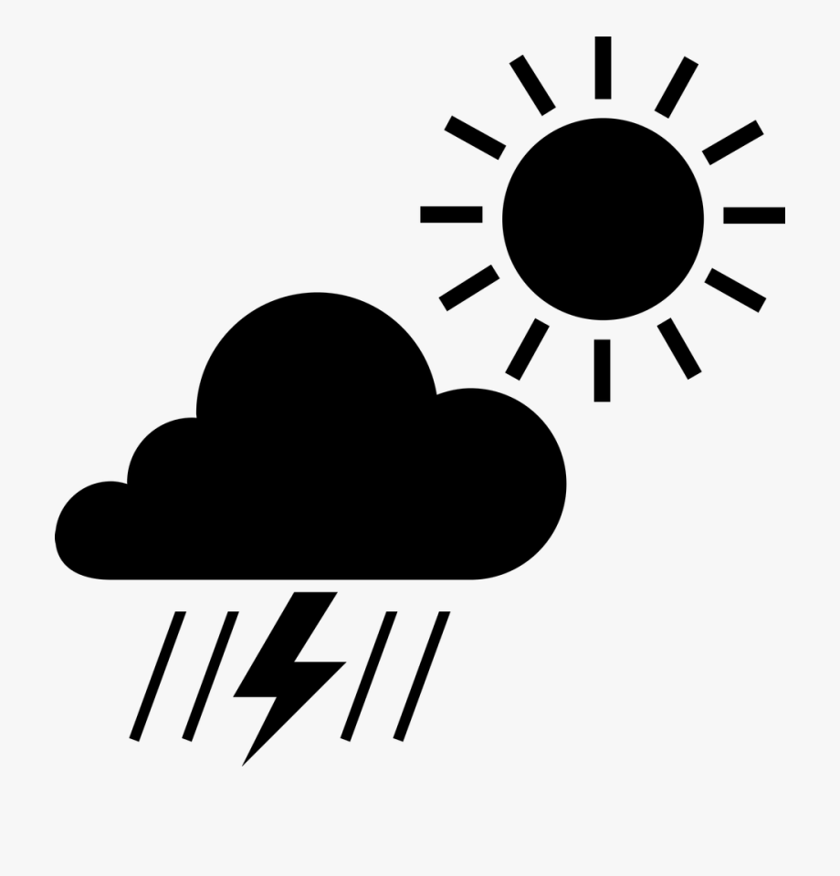Scattered Thunderstorms Clipart Image.