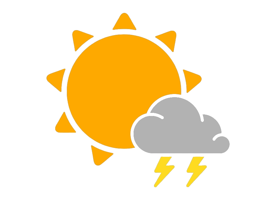 Thunderstorm Clipart Weather Scattered Thunderstorms Icon.