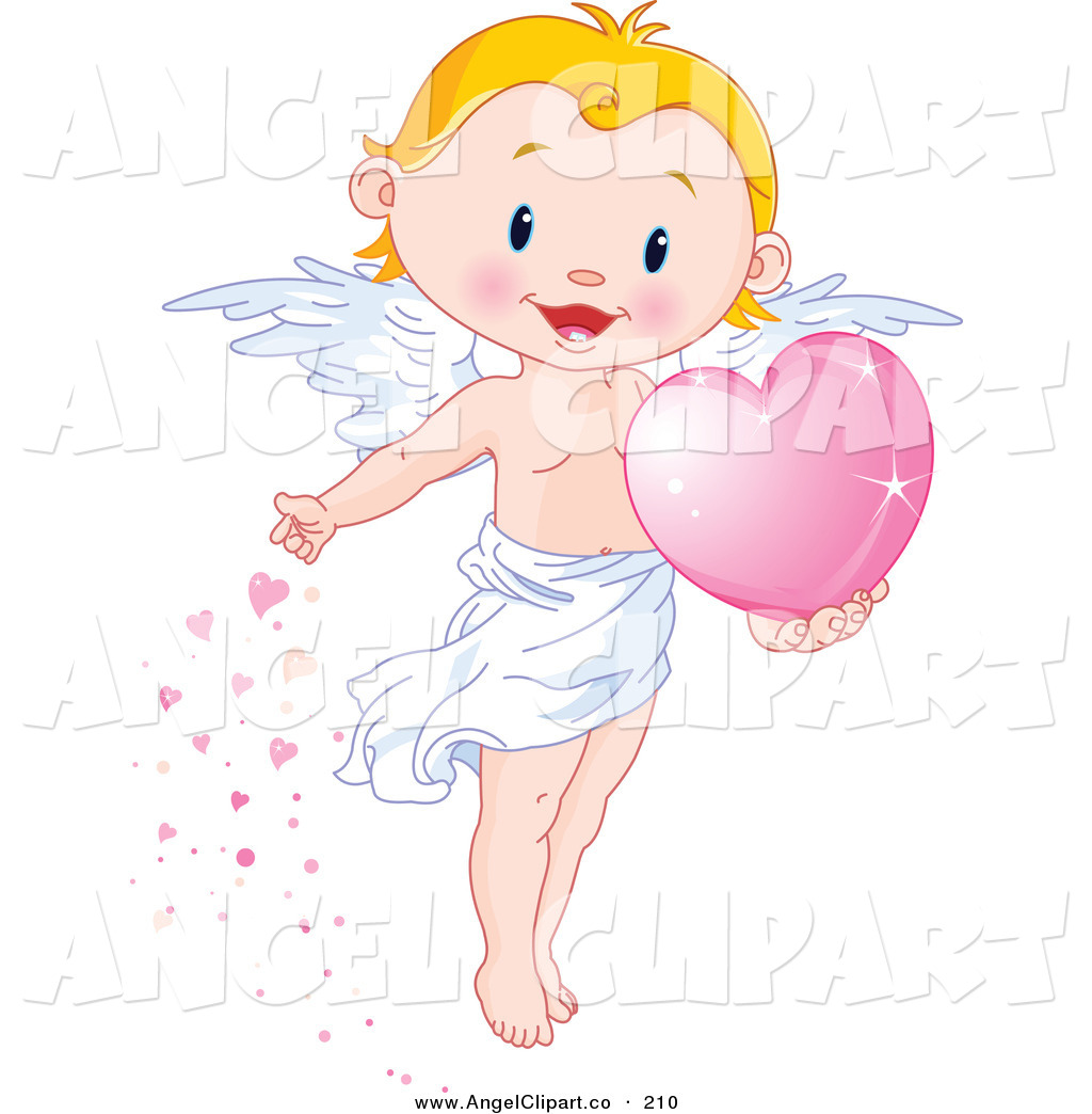 Clip Art of a Happy Cute Blond Boy Angel Scattering Pink Hearts by.