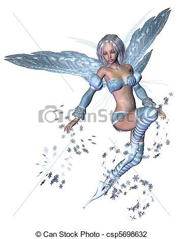Clip Art of Snowflake Fairy.