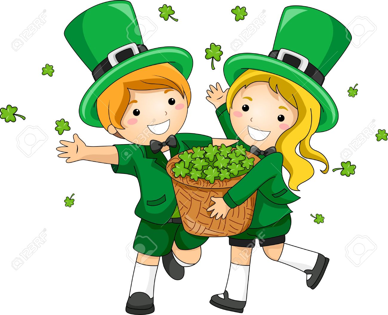 Illustration Of Kids Scattering Clovers Stock Photo, Picture And.