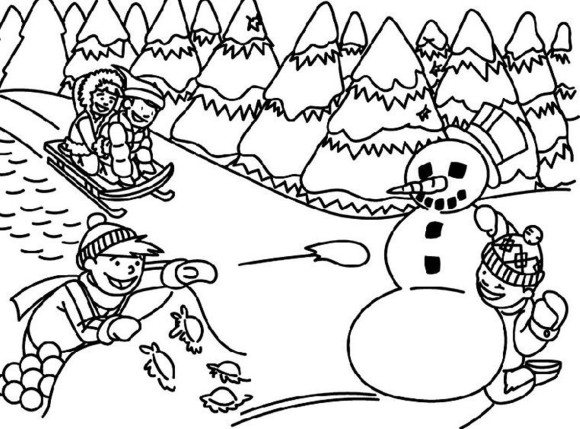 Snow Scene Clipart Black And White.