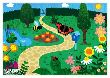 Clipart of garden scene.
