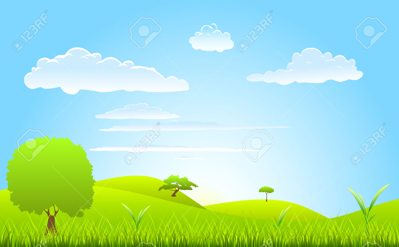 Landscape Spring Scene Royalty Free Cliparts, Vectors, And Stock.