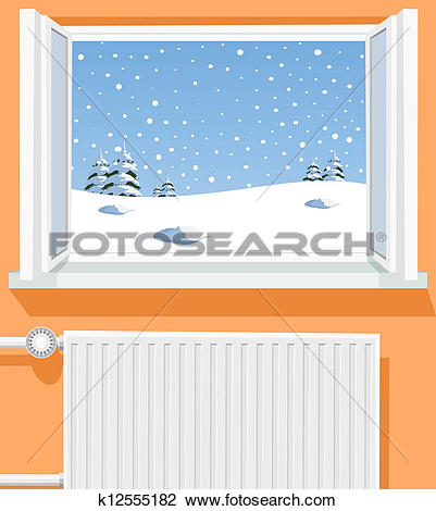 Clipart of Winter scene through opened window, illustration.