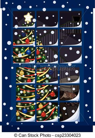Vector Illustration of Christmas Tree Through Window.