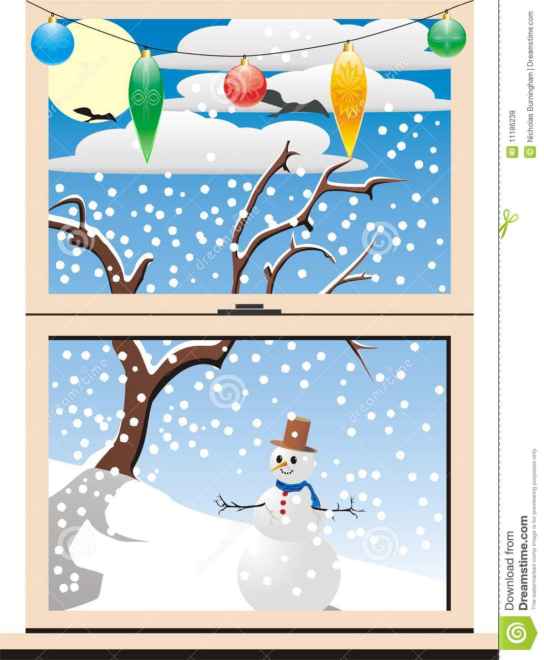 Winter Window Scene Clipart.