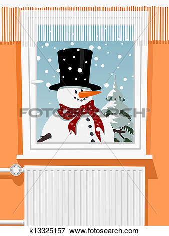 Clip Art of Winter scene from the snowman through window k13325157.