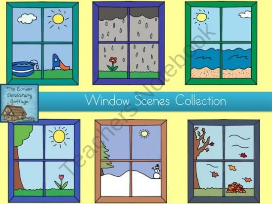 Window Scene Clip Art Collection from Lower El Cottage Clip Art.