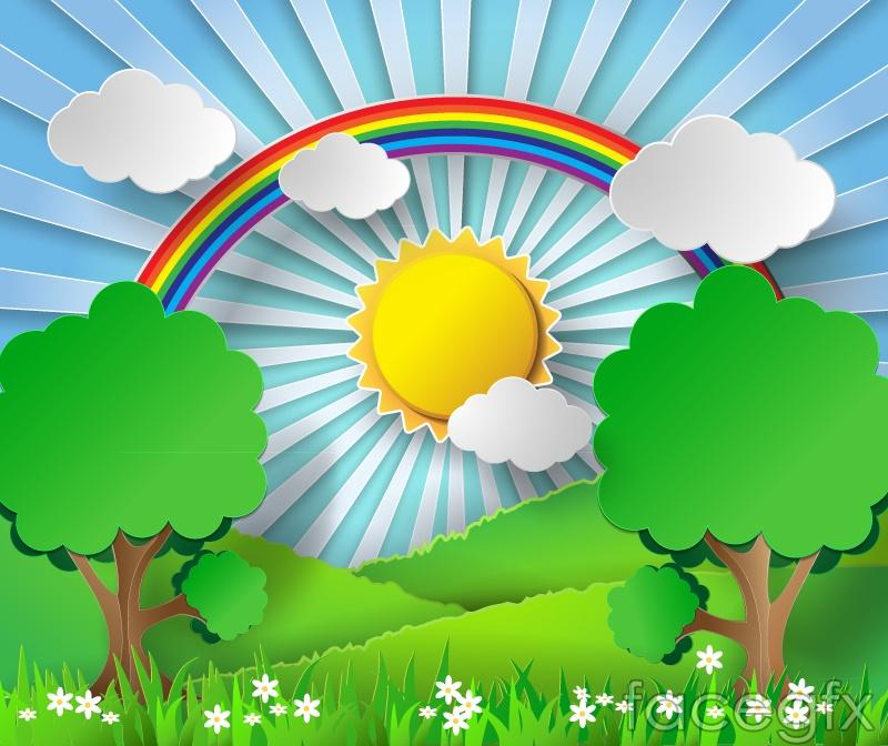 The rainbow mountain scenery clipart vector.