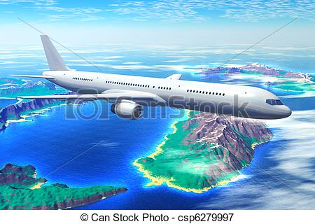 Stock Illustrations of Scenic airliner flight over the ocean with.
