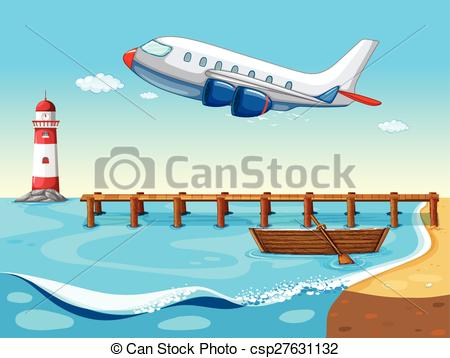 Vectors of Plane and beach.