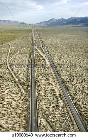 Stock Photography of Aerial of desolate scenic highway through.