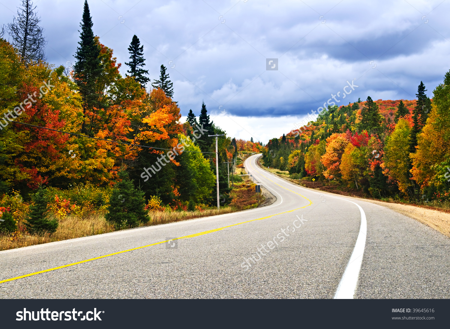 Fall Scenic Highway In Northern Ontario, Canada Stock Photo.