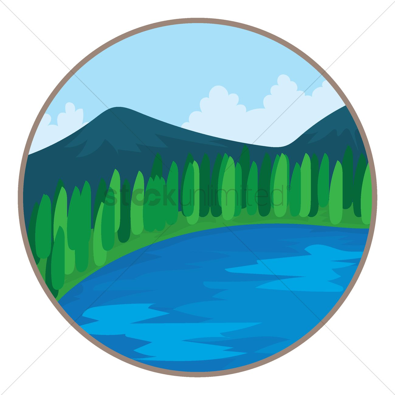 Scenic view of mountains and waters Vector Image.