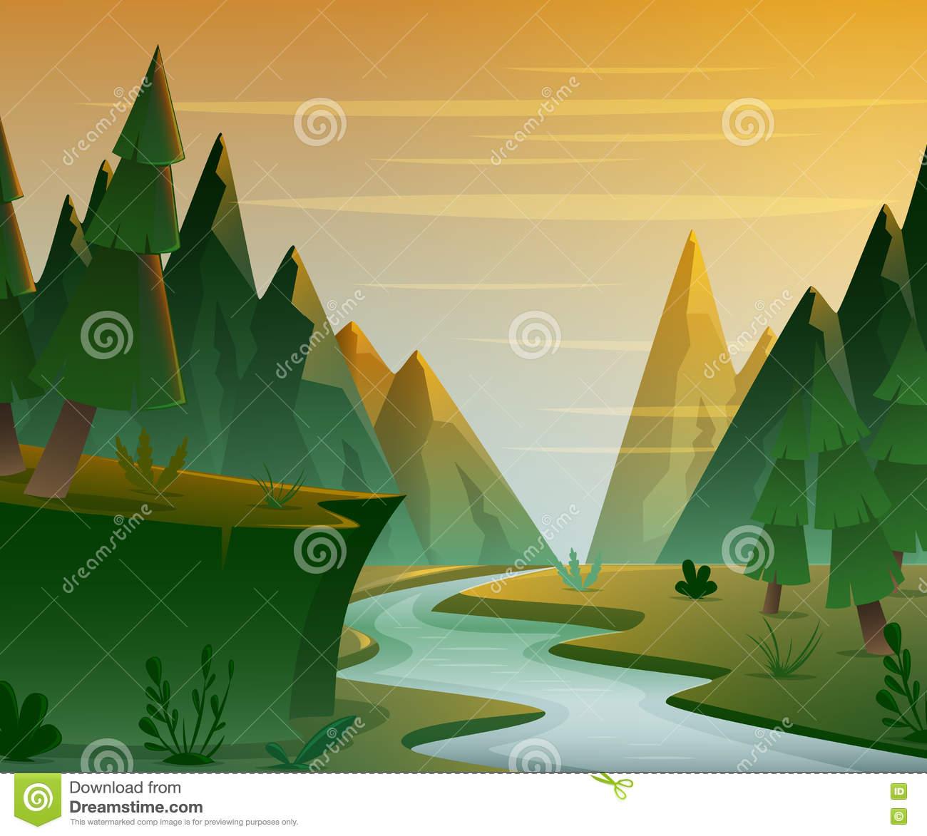 Scenic View Moraine Lake Mountain Range Sunset Stock Illustrations.