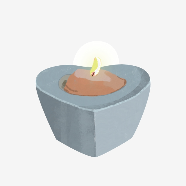 Blue Heart Shaped Candlestick Scented Candle Illustration.