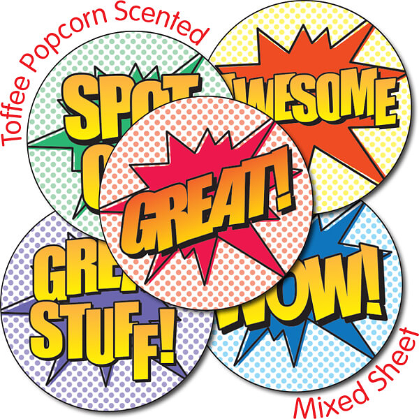Toffee Popcorn Scented Superhero Wording 37mm Stickers x 35.