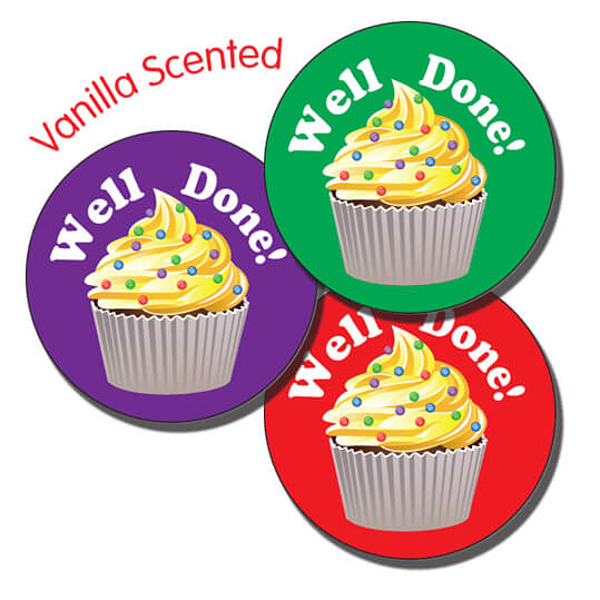 Vanilla Scented Well Done Cupcake 37mm Stickers x 35.