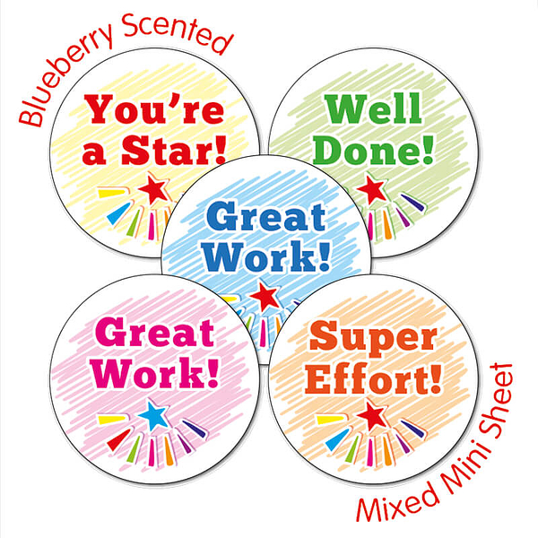 30 Mixed Wording 25mm Blueberry Scented Stickers.