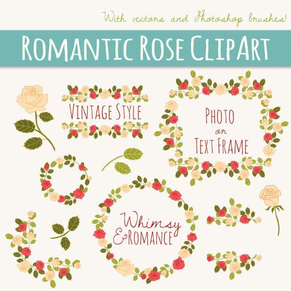 Romantic Rose Clip Art // Photoshop Brushes ABR // Hand Drawn.
