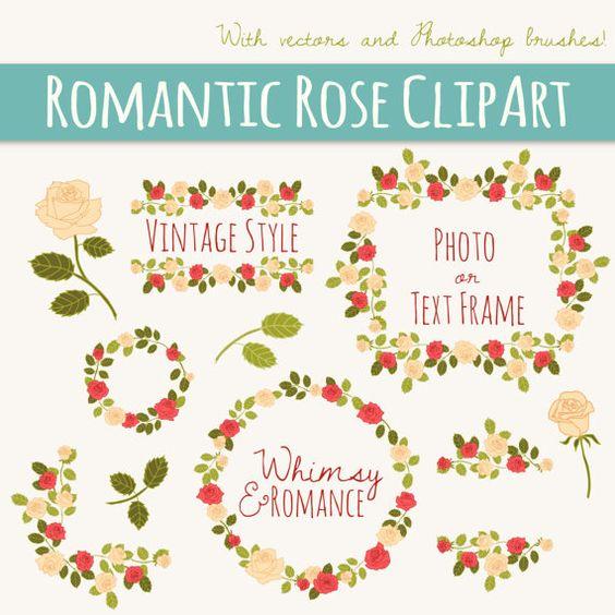 Romantic Rose Clip Art // Photoshop Brushes ABR // Hand Drawn.