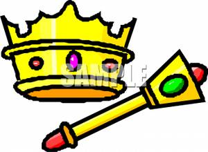Gold Crown with a Gold Scepter.