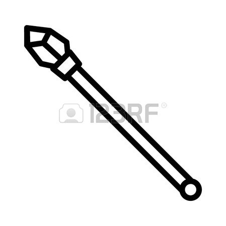 Scepter with star black clipart.