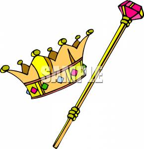 Clip Art Kings Crown And Scepter Clipart.