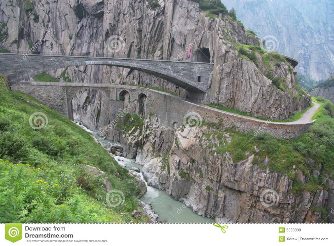 Old Rock Bridge In Alps Royalty Free Stock Photos.