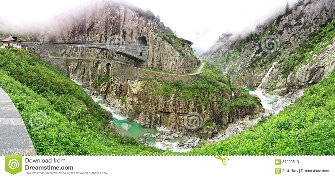 The Devil's Bridge, Switzerland Stock Photo.
