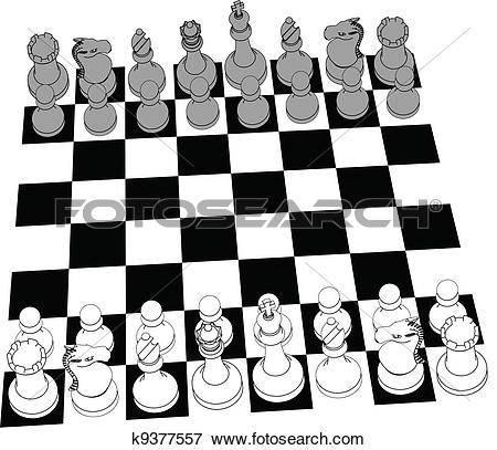 Clip Art of Chess set game pieces line drawing 3D k9377557.