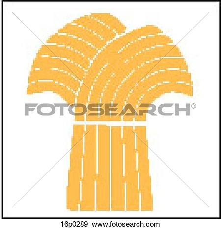 Clip Art of Wheat Sheaf 16p0289.
