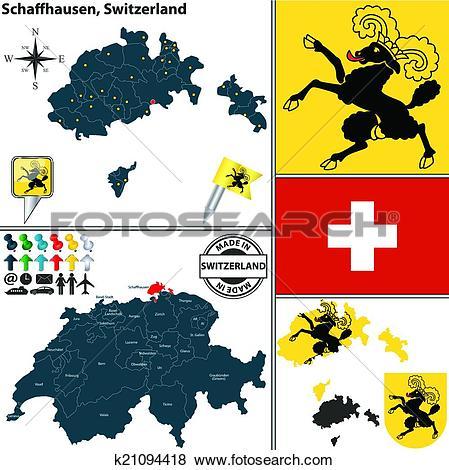 Clip Art of Map of Schaffhausen, Switzerland k21094418.