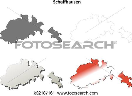 Clipart of Schaffhausen blank detailed outline map set k32187161.