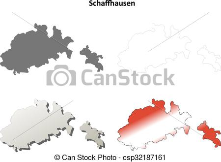 Clip Art Vector of Schaffhausen blank detailed outline map set.