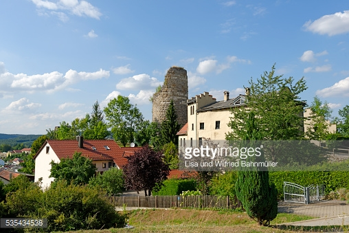 Germany Bavaria Wellheim View Of Wellheim Castle Stock Photo.