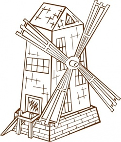 Mill graphics, vector Mill.