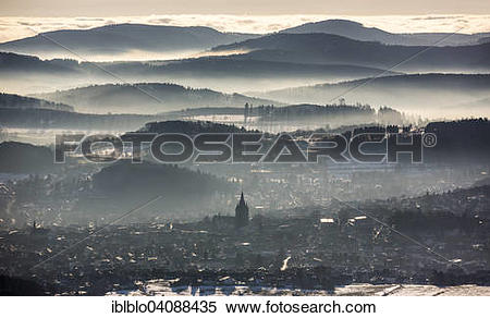 Stock Image of View from Scharfenberg on Brilon with Provost.