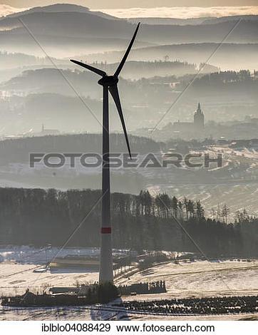 Stock Photograph of Wind power plant, Scharfenberg, Brilon.