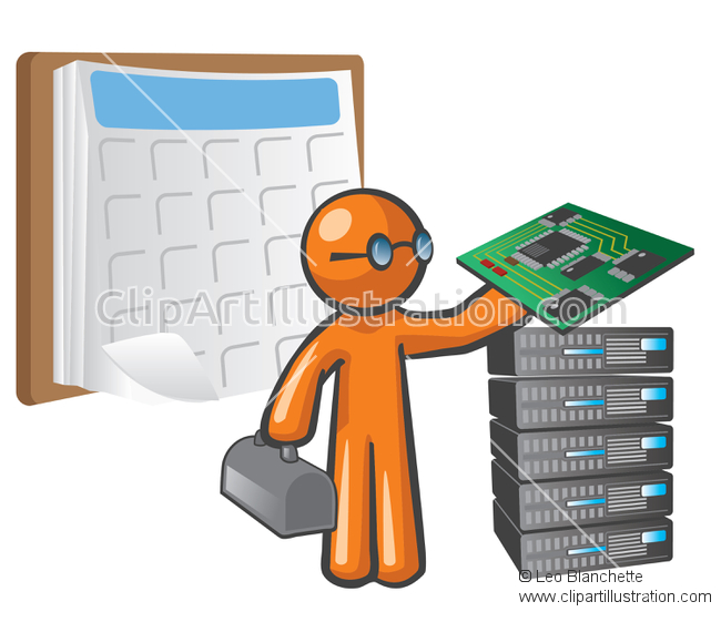 ClipArt Illustration of Scheduled Website Maintenance.