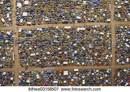 "Picture of ""Aerial view, camping area with tents, Hurricane."