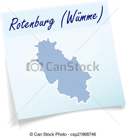 EPS Vector of Map of Rotenburg as sticky note in blue csp21968746.