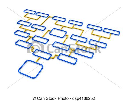 Clip Art of Blue and orange schematic diagram. 3d rendered.