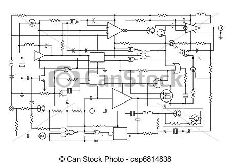 Electronic schematic clipart.