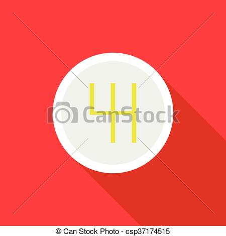 Vector Clip Art of Gearbox schematics icon, flat style.
