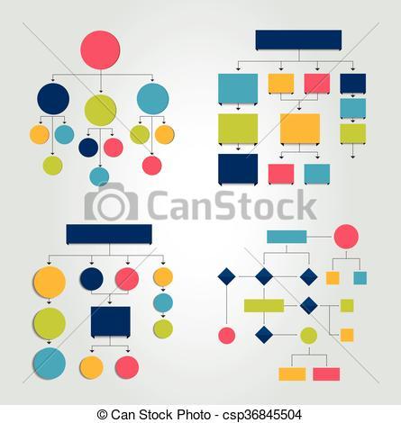 Vector Clipart of Flowcharts. Set of 6 flow charts schemes.