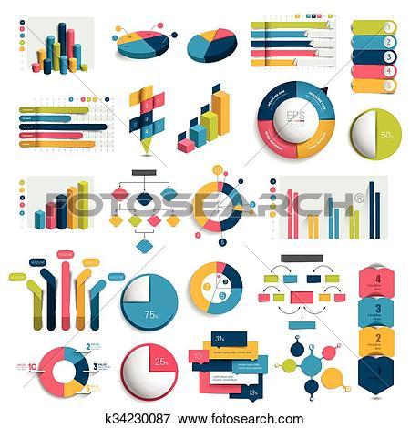Clip Art of Mega Set of business 3D design graphs, charts.