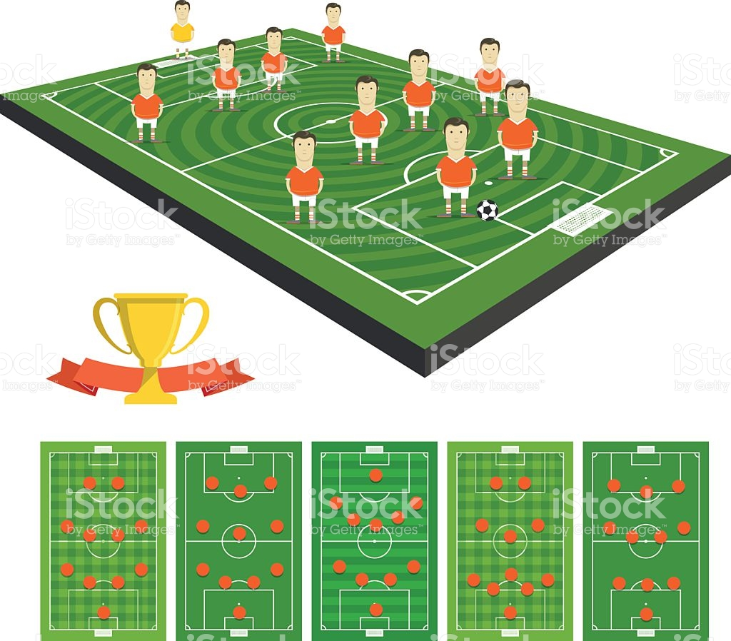 Soccer Team Vector Clipart With Different Strategy Schemes stock.
